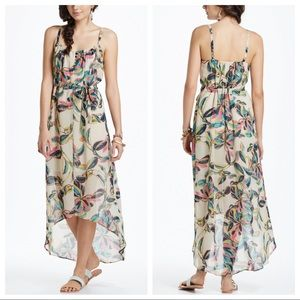 Anthropologie L Floral High Low Cebu Maxi Dress